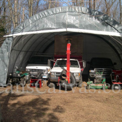 30'W x 30'L x 15'H Three Car Workshop Round Style